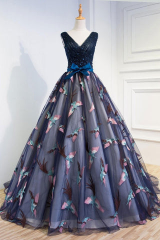 Navy Blue Floral Tulle A Line Long Sweet 16 Prom Dress Customize Evening Dress