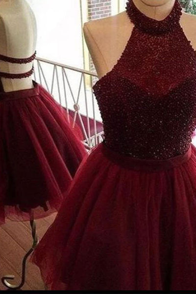 Wine organza halter A-line simple short prom dresses for teens,beading party dresses - occasion dresses by Sweetheartgirls