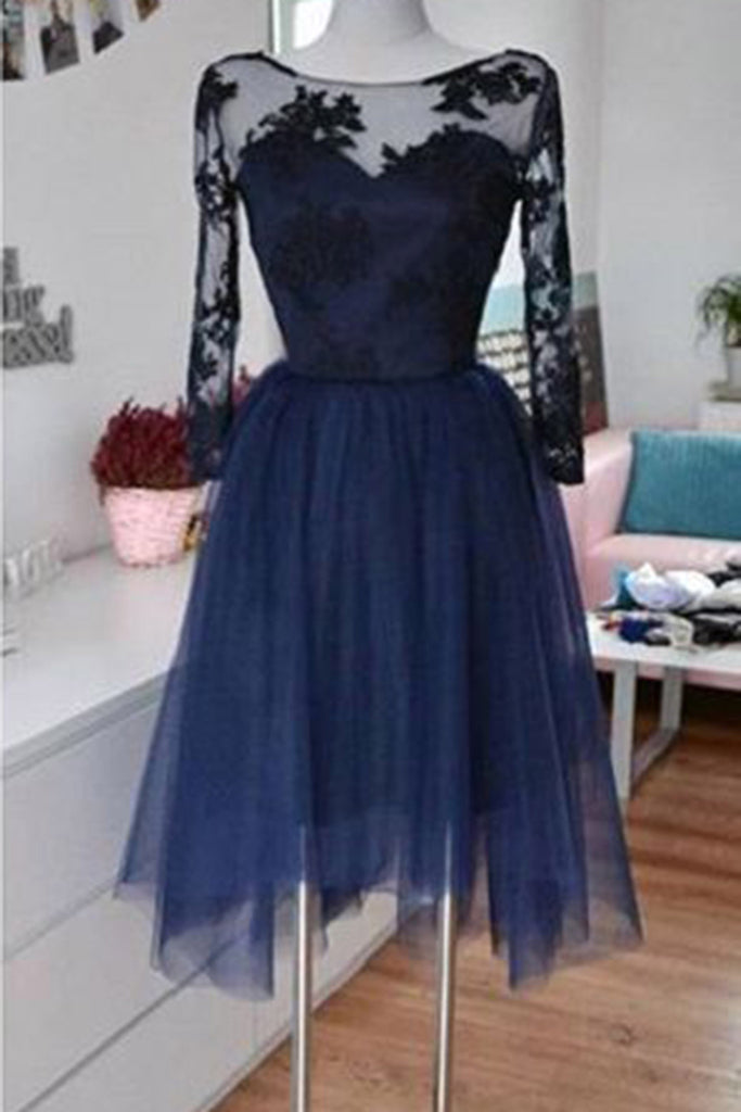 Sweet 16 Dresses | Dark blue tulle black lace long sleeves round short dress,formal dresses