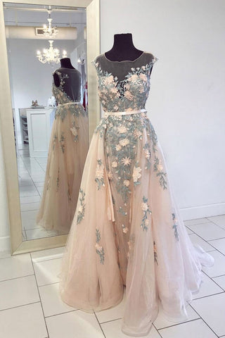 Champagne Tulle Round Neck Embroidery Long Formal Prom Dress, Evening Dresses