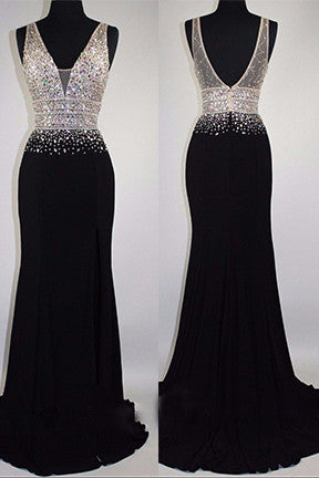 2018 evening gowns - Luxury black chiffon sequins rhinestone V-neck long evening dresses,formal dress