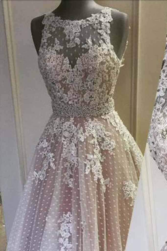 Sweet 16 Dresses | Lace see-through round neck long dress,prince prom dresses