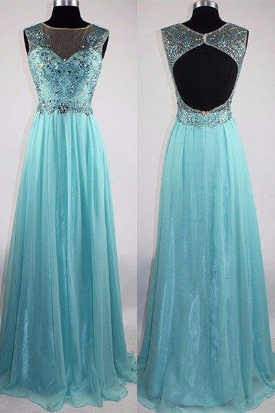 Light blue chiffon satins beading see-through rhinestone long dresses - prom dresses 2018