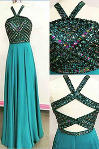 Green chiffon two pieces beaded long evening dresses,unique prom dress