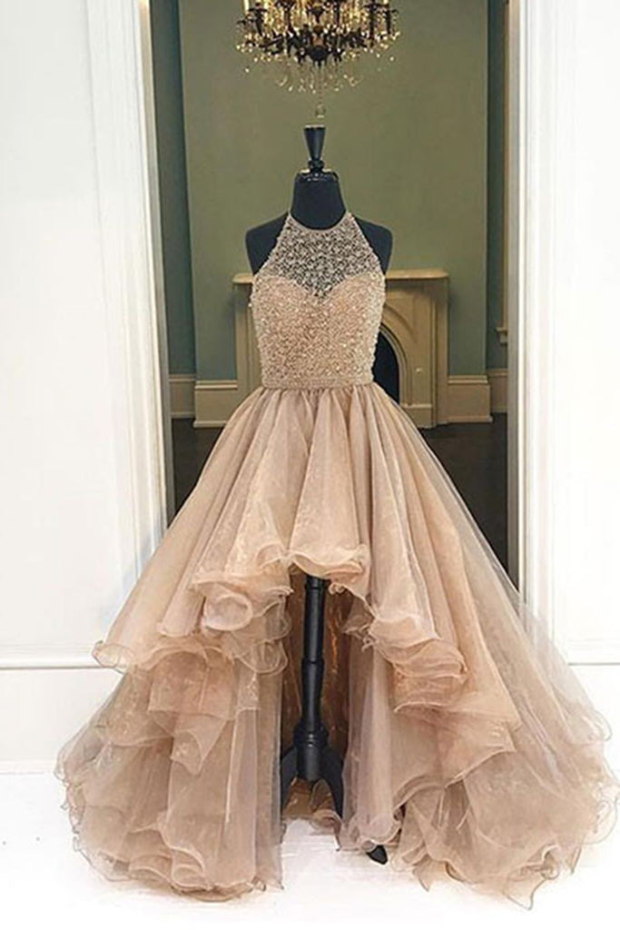 Champagne organza halter high low A-line long dress,foemal dresses for teens - occasion dresses by Sweetheartgirls