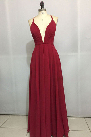 Burgundy Chiffon Simple Long Prom Dress Cross Back Party Dress