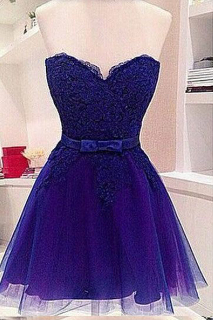 b5831a0d071 2018 evening gowns - Navy blue cute organza sweetheart lace short prom  dresses for teens ,