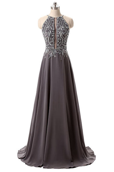 Brown chiffon beading halter backless A-line long prom dress,evening dresses for teens - occasion dresses by Sweetheartgirls