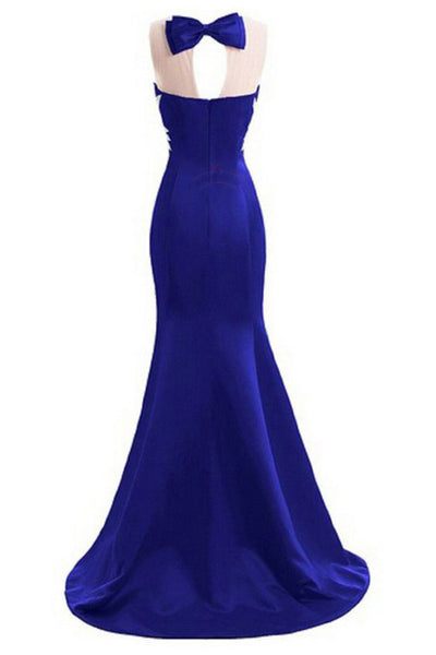 2018 evening gowns - Navy blue chiffon sequins beading mermaid round neck bowknot simple long prom dresses