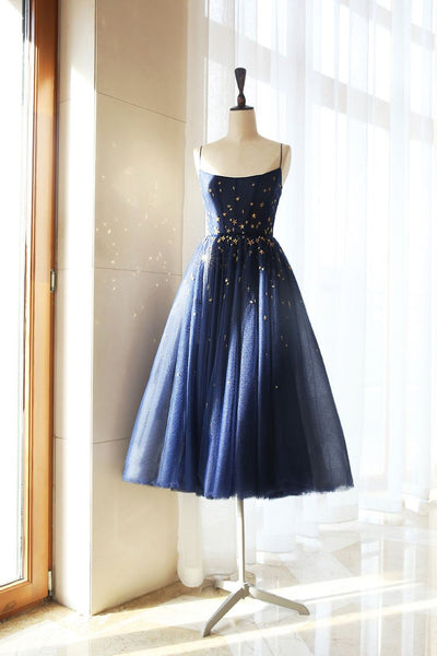 Deep Blue Tulle Open Back Tea Length Prom Dress Party Dress