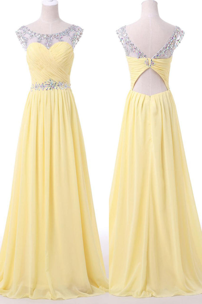 Prom 2020 | Yellow chiffon beading see-through long prom dresses,new design evening dresses