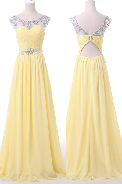 Yellow chiffon beading see-through long prom dresses,new design evening dresses - Sweetheartgirls