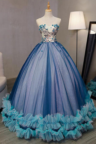 Unique Blue Tulle Strapless Long A Line Sweet 16 Prom Dress, Prom Gowns