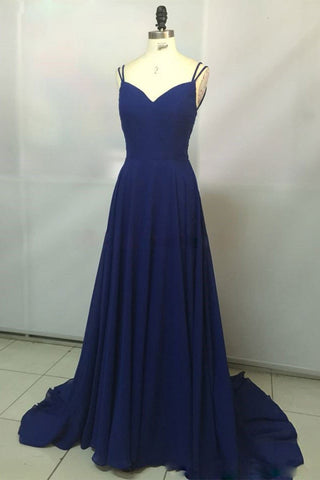 Navy Blue Chiffon V Neck Long Spaghetti Straps Backless Prom Dress, Party Dress