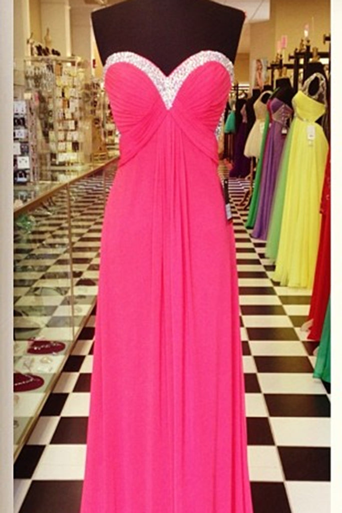 2018 evening gowns - Hot pink chiffon sweetheart beading open back A-line long dresses,casual dresses for teens