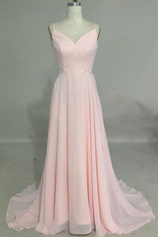 Simple New Pink Chiffon V Neck Long Backless Prom Dress, Party Dress