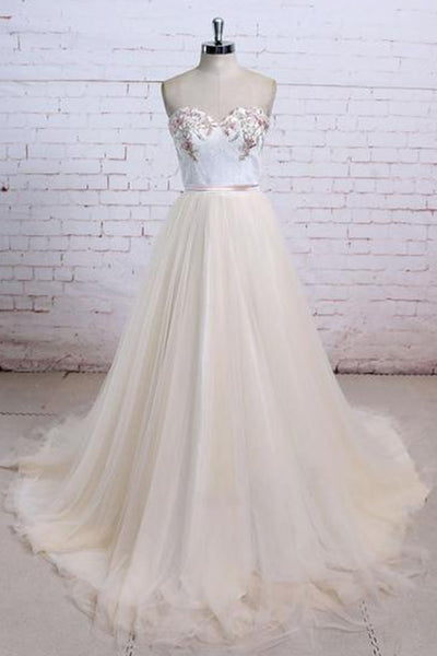 Sweet 16 Dresses | Champagne tulle long strapless simple wedding dress, long fall prom dresses