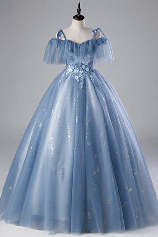 Blue Tulle Spaghetti Straps Long Formal Prom Dress Ball Gown