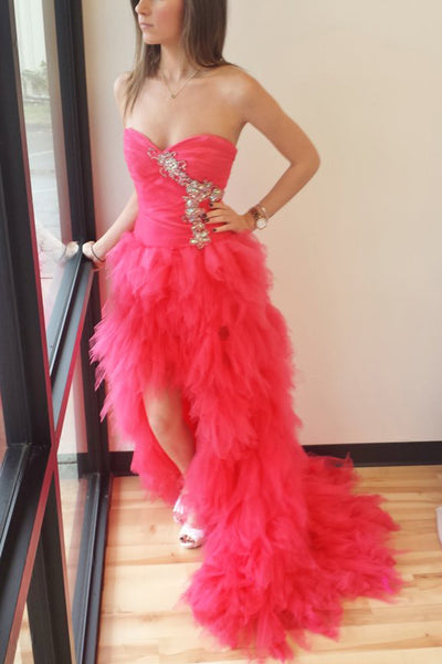Coral organza sexy sweetheart beading high low long prom dresses,evening dresses - occasion dresses by Sweetheartgirls