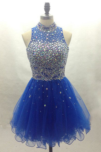 Navy blue organza beading round neck A-line short dress ,cute party dress for teens - occasion dresses by Sweetheartgirls
