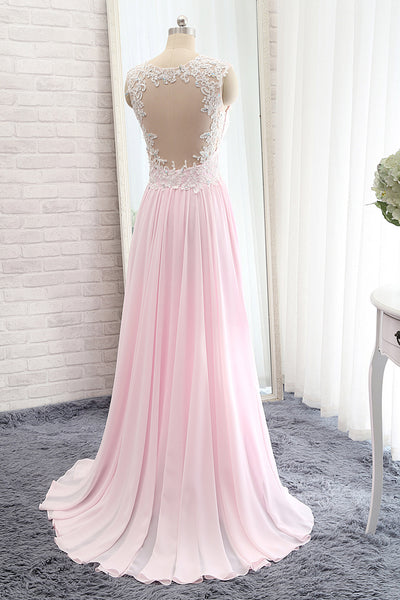 2018 evening gowns - Pink chiffon lace beading  A-line simple cheap long prom dresses for teens with straps