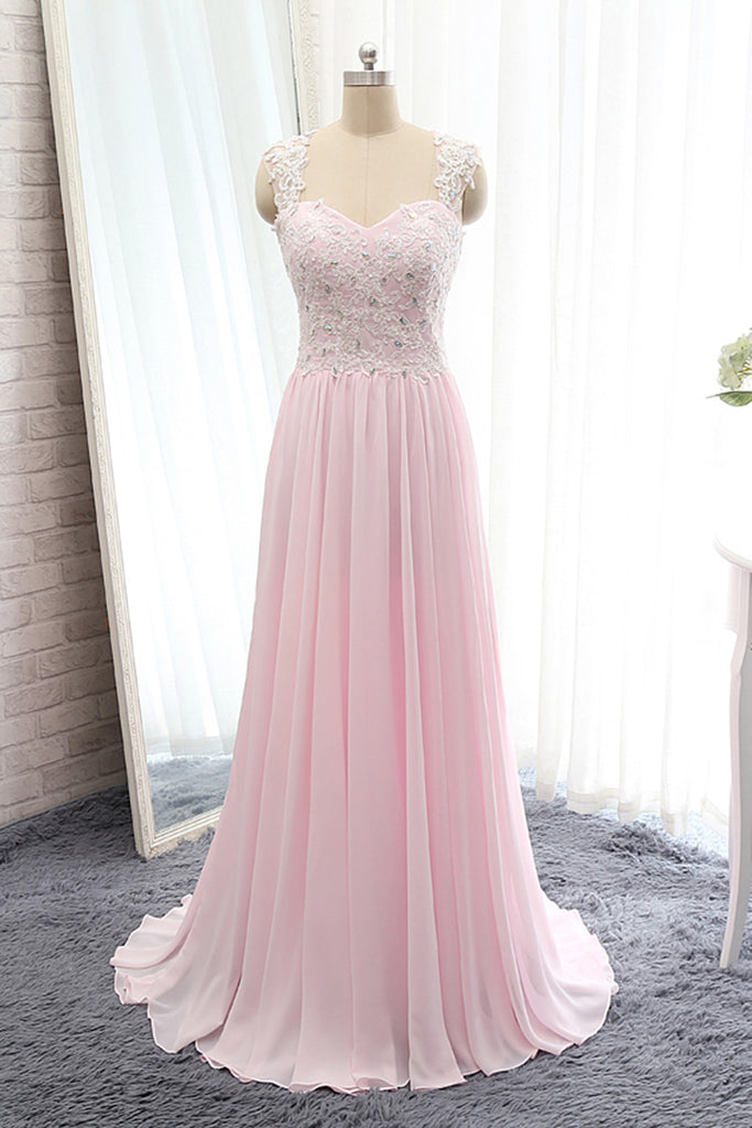 Sweet 16 Dresses | Pink chiffon lace beading  A-line simple cheap long prom dresses for teens with straps