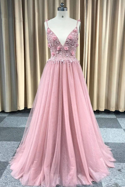 Sweet 16 Dresses | 2019 sexy pink tulle backless long beaded party dress,  pearl prom dress