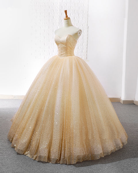 2019 Prom Dresses | 2019 New Arrival Sweetheart Champagne Tulle Shiny Beaded Long Senior Prom Dress
