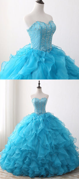 Sweet 16 Dresses | 2019 Light Blue Tulle Beaded Quinceanera Dress,  Sequin Sweet 16 Prom Dress