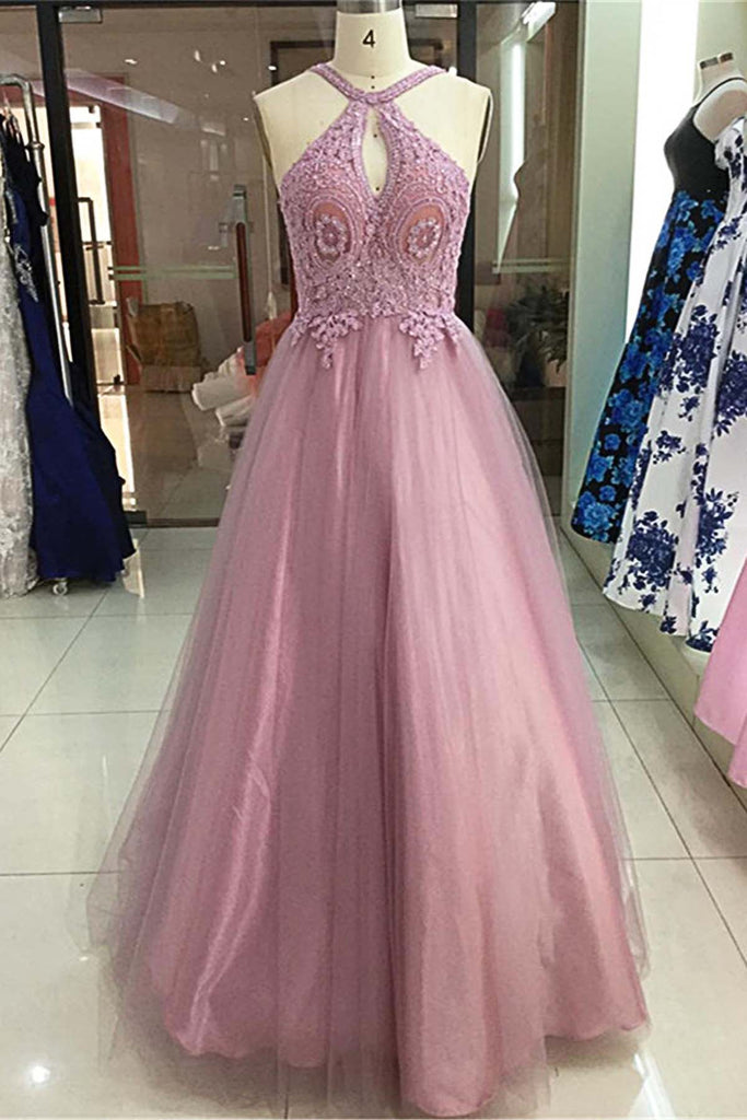 2019 Prom Dresses | 2019 Graceful Lace Long Tulle Strapless Prom Dress, Evening Dress