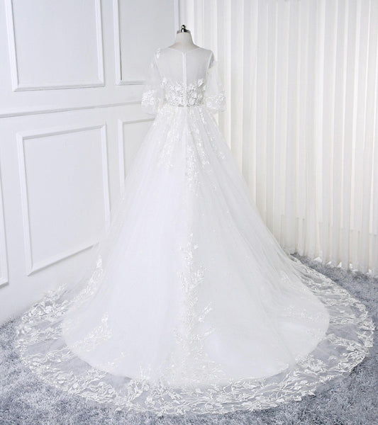 Sweet 16 Dresses | 2019 White Lace Flowers Half sleeves Bridal Wedding Dress, Sheer Back Prom Dress