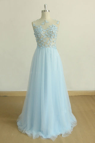 Baby Blue Tulle Round Neck Long A Line Lace Applique Formal Prom Dress, Evening Dress