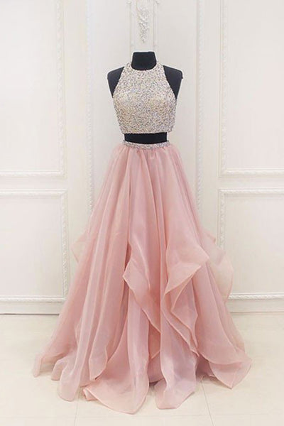 Sweet 16 Dresses | Pink chiffon tiered two pieces sequins A-line beaded long evening dresses,graduation dresses
