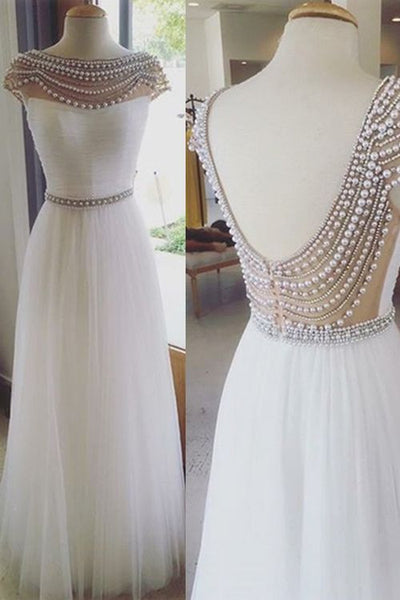 Prom 2020 | White chiffon open back pearl beaded waistband long prom dresses,  graduation dresses for teens