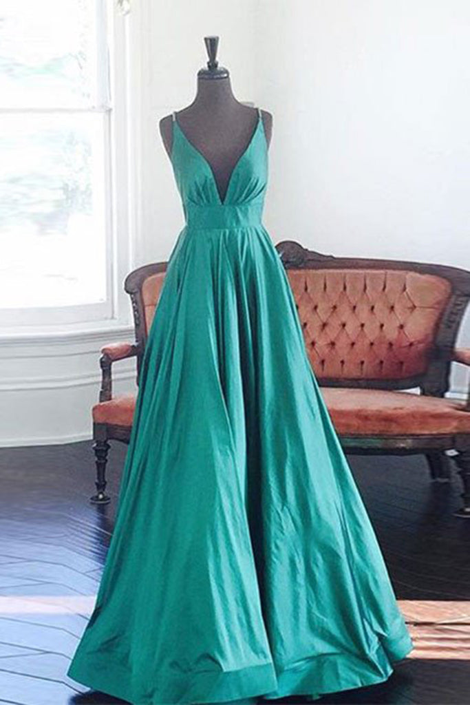 Sweet 16 Dresses | Turquoise V-neck A-line simple long prom dresses for teens with straps,evening dresses