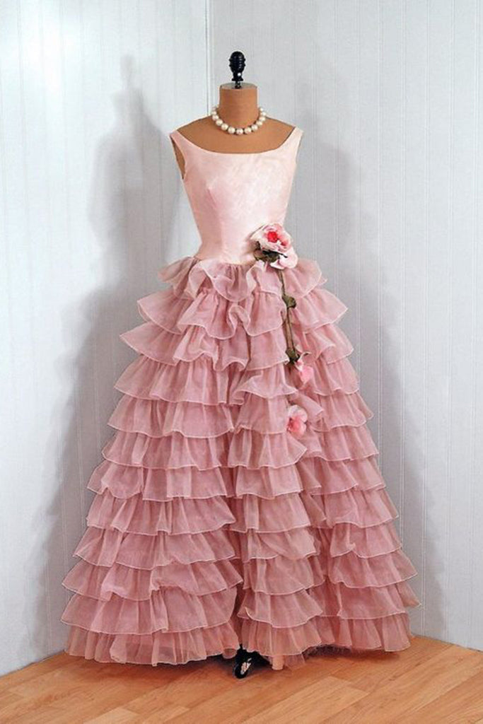 Organza A-line tiered round neck long dress ,vintage dress - Sweetheartgirls