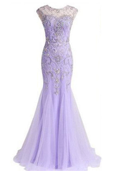 Light purple chiffon see-through cap sleeves sequins beading long dress ,prom with straps - occasion dresses by Sweetheartgirls