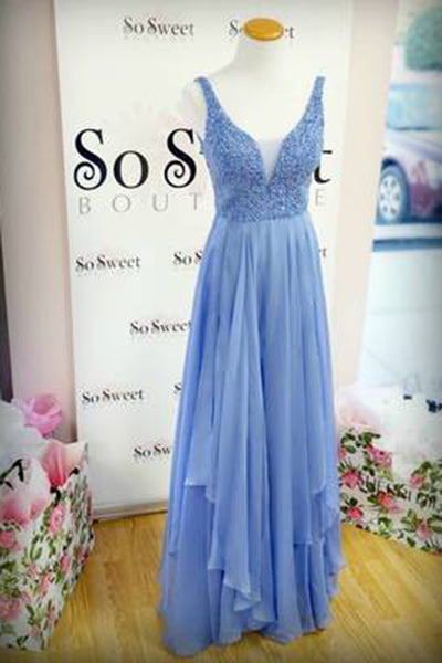 Sky blue chiffon V-neck long dresses,formal dresses with straps for prom - prom dresses 2018