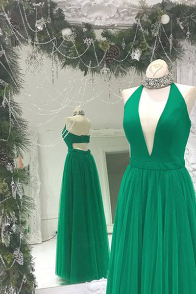 Sweet 16 Dresses | Sexy V-neck green chiffon A-line full-length long dress,evening dress for prom