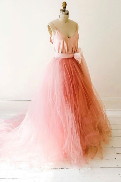 Pink Tulle V Neck Long Sweet 16 Prom Dress, Graduation Dress