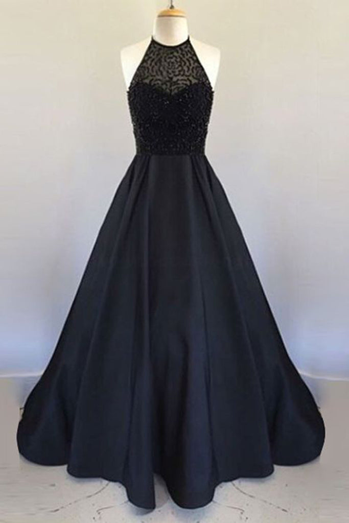 2019 Prom Dresses | Black satins chiffon lace long dress,simple A-line graduation dresses