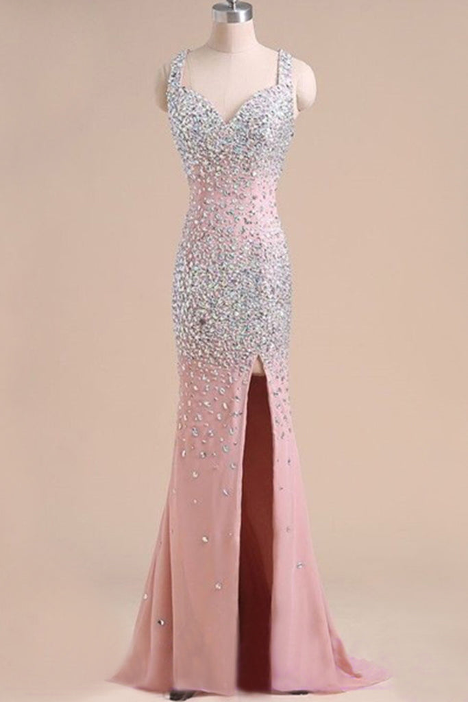 Peach pink chiffon sequins long prom dresses with straps, shining ...