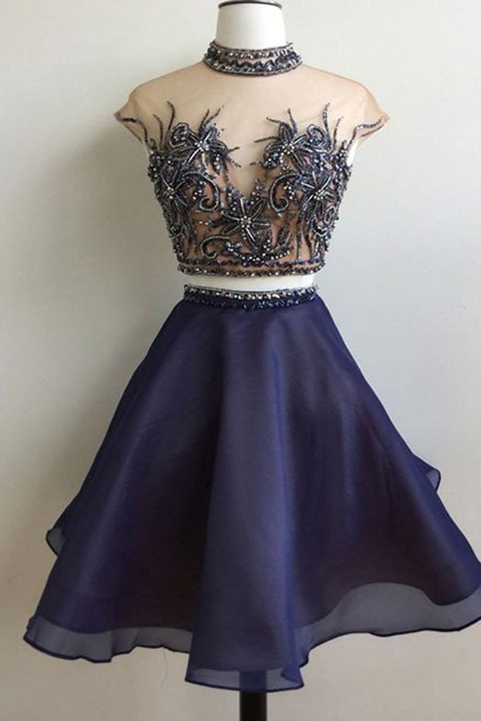 Dark blue organza two pieces beading see-through A-line short prom dresses for teens - occasion dresses by Sweetheartgirls