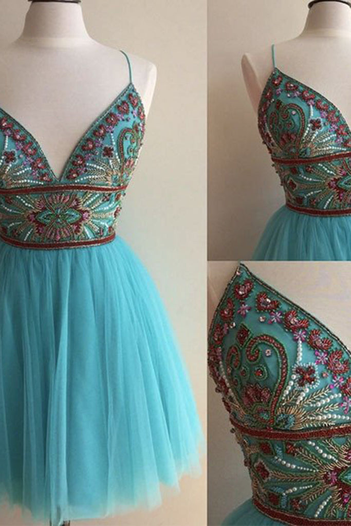 2019 Prom Dresses | Beautiful blue tulle V-neck A-line beading short prom dresses for teens with straps