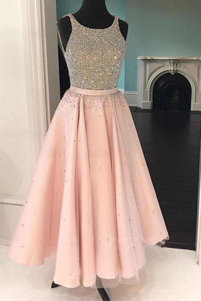 Pink tulle chiffon sequins beading A-line full-length long prom ,evening dresses - prom dresses 2018