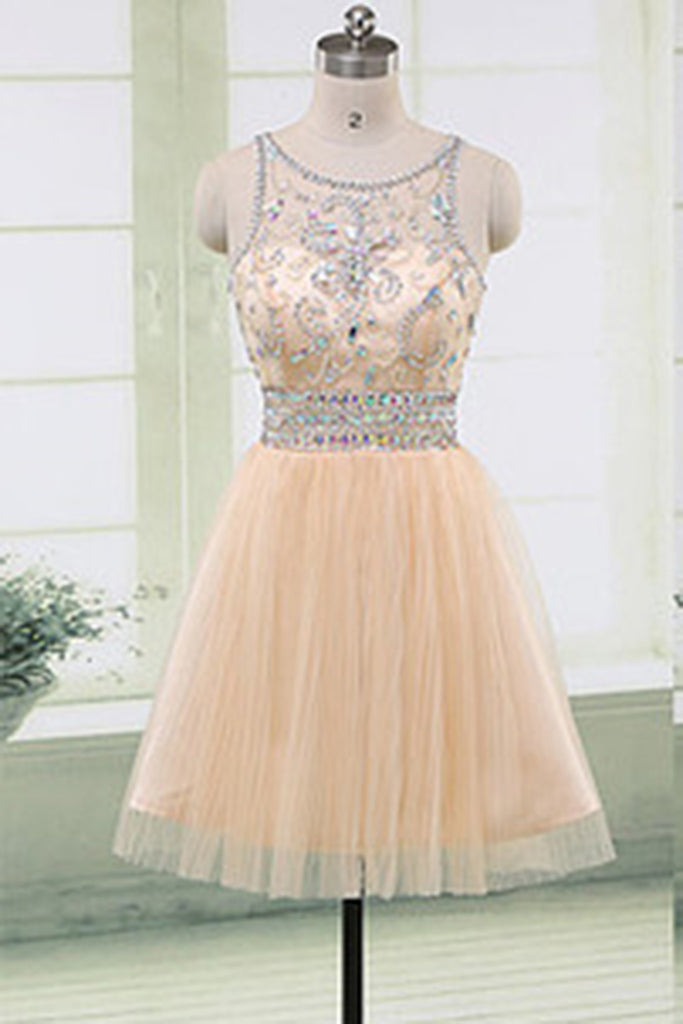 2019 Prom Dresses | Cute ivory tulle see-through beading sequins round neck A-line short dresses,mini dresses for teens