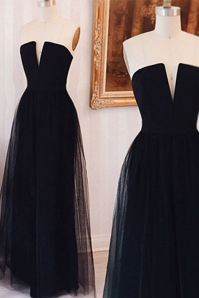 2018 evening gowns - New balck tulle sweetheart V-neck A-line long dresses,formal dresses without straps