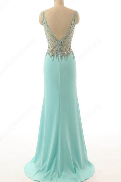 2018 evening gowns - Light blue chiffon sequins V-neck slit long dresses,evening dresses for prom