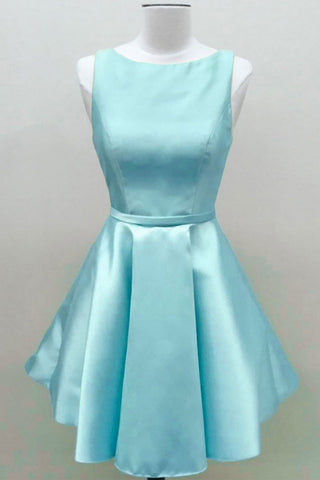 Baby Blue Satin Short Prom Dress, Homecoming Dress, Party Dress