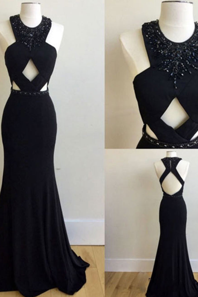 Sexy black chiffon sequins backless cross back long dresses,evening dresses - prom dresses 2018